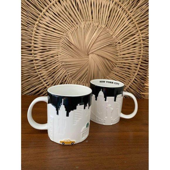 ▪️SOLD▪️2 STARBUCKS NYC BIG Coffee Mug Taxi